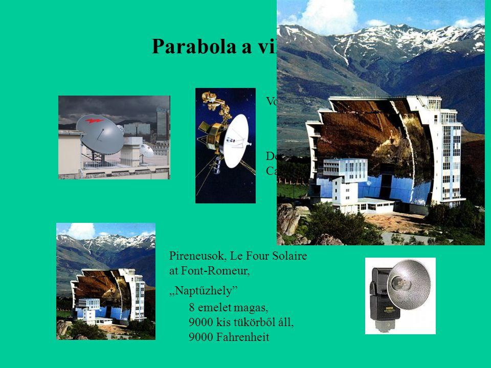 """Parabola a világban Voyager, d =3,7 m Deep Space Station, Canberra, d =70 m Pireneusok, Le Four Solaire at Font-Romeur, """"Naptűzhely"""" 8 emelet magas, 9"""