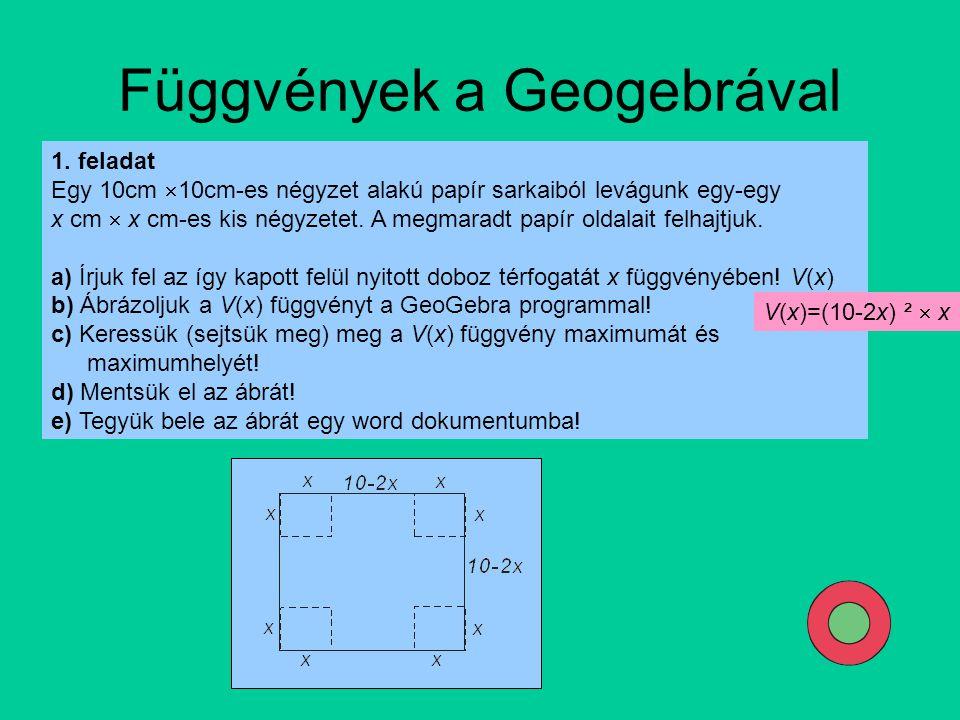 Függvények a Geogebrával 1. feladat Egy 10cm  10cm-es négyzet alakú papír sarkaiból levágunk egy-egy x cm  x cm-es kis négyzetet. A megmaradt papír