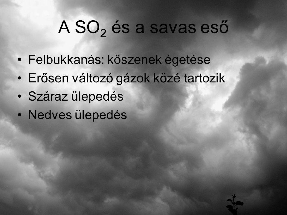 A SO 2 és a savas eső Felbukkanás: kőszenek égetése Erősen változó gázok közé tartozik Száraz ülepedés Nedves ülepedés