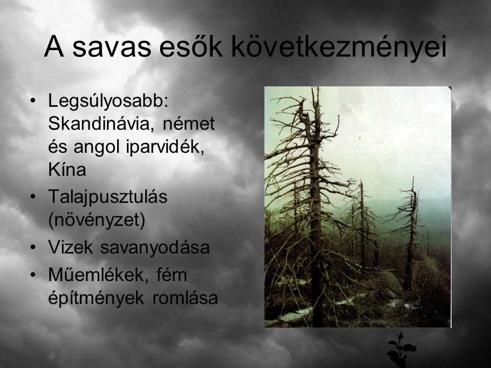 A savas esők következményei Legsúlyosabb: Skandinávia, német és angol iparvidék, Kína Talajpusztulás (növényzet) Vizek savanyodása Műemlékek, fém épít