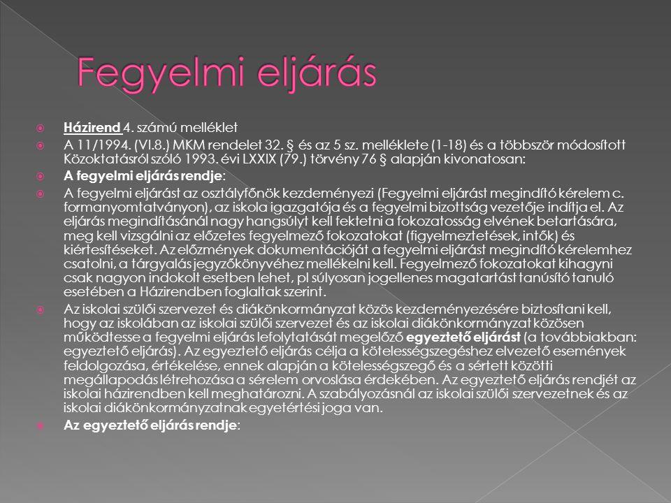  Házirend 4. számú melléklet  A 11/1994. (VI.8.) MKM rendelet 32. § és az 5 sz. melléklete (1-18) és a többször módosított Közoktatásról szóló 1993.
