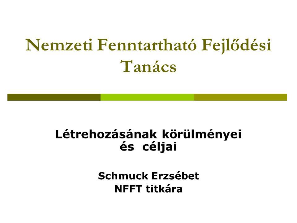 Nemzeti Fenntartható Fejlődési Tanács Létrehozásának körülményei és céljai Schmuck Erzsébet NFFT titkára