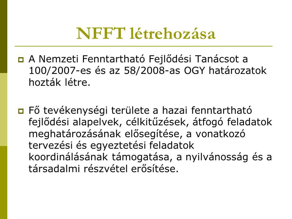 NFFT létrehozása  A Nemzeti Fenntartható Fejlődési Tanácsot a 100/2007-es és az 58/2008-as OGY határozatok hozták létre.  Fő tevékenységi területe a