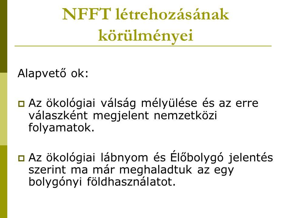 NFFT létrehozásának körülményei Alapvető ok:  Az ökológiai válság mélyülése és az erre válaszként megjelent nemzetközi folyamatok.  Az ökológiai láb
