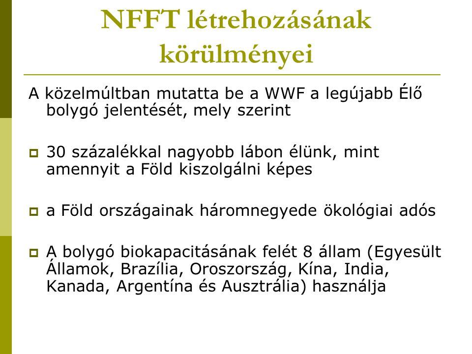 NFFT létrehozásának körülményei A közelmúltban mutatta be a WWF a legújabb Élő bolygó jelentését, mely szerint  30 százalékkal nagyobb lábon élünk, m