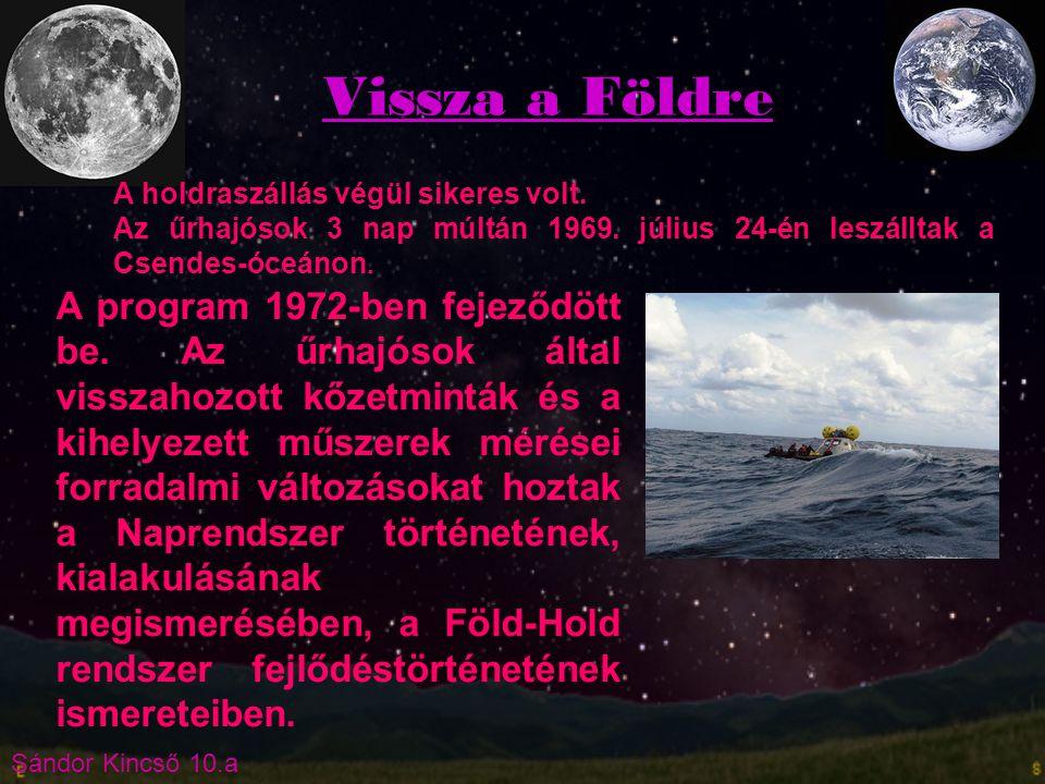 Sándor Kincső 10.a Vissza a Földre A holdraszállás végül sikeres volt. Az űrhajósok 3 nap múltán 1969. július 24-én leszálltak a Csendes-óceánon. A pr