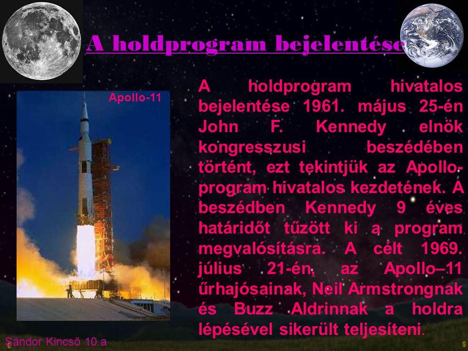 Sándor Kincső 10.a A holdprogram hivatalos bejelentése 1961. május 25-én John F. Kennedy elnök kongresszusi beszédében történt, ezt tekintjük az Apoll