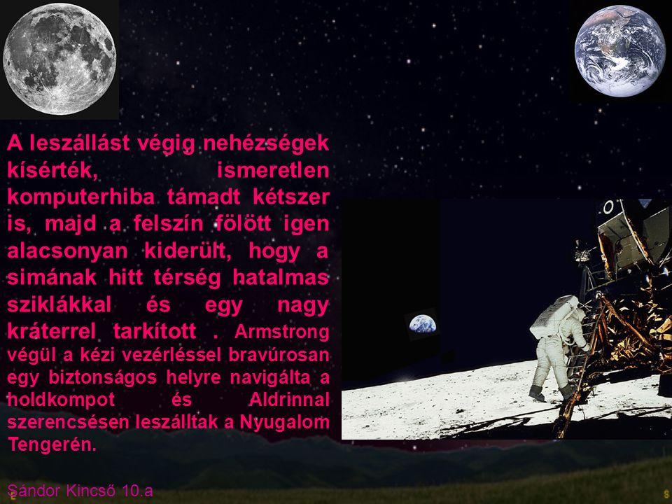 Sándor Kincső 10.a A Szojusz TMA-14 legénysége Charles Simonyi Michael Baratt Gennagyij Padalka