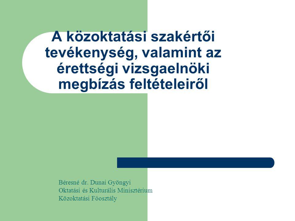 2 A közoktatási szakértői tevékenység, valamint az érettségi vizsgaelnöki megbízás feltételeiről Célok a közoktatás minősége és eredményessége a szakértői rendszer - mint a minőség biztosítását szolgáló egyik elem - hatékony, szakszerű működtetése a közoktatási intézmények jogszerű, szakmailag eredményes, hatékony működése érdekében végzett ellenőrzések szakszerűsége a fenntartói döntések szakszerűségének, megalapozottságának segítése