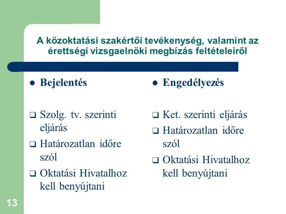 13 A közoktatási szakértői tevékenység, valamint az érettségi vizsgaelnöki megbízás feltételeiről Bejelentés  Szolg. tv. szerinti eljárás  Határozat