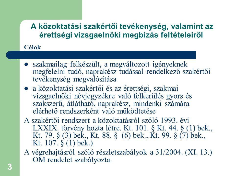 4 A közoktatási szakértői tevékenység, valamint az érettségi vizsgaelnöki megbízás feltételeiről Új rendelet kiadásának indokai Jogszabályok változása Szakmai indokok