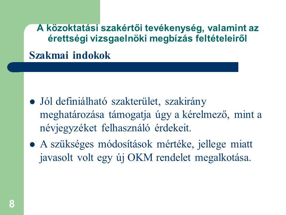 29 A közoktatási szakértői tevékenység, valamint az érettségi vizsgaelnöki megbízás feltételeiről Az érettségi vizsgaelnöki tevékenység Emlékeztetőül 2002.