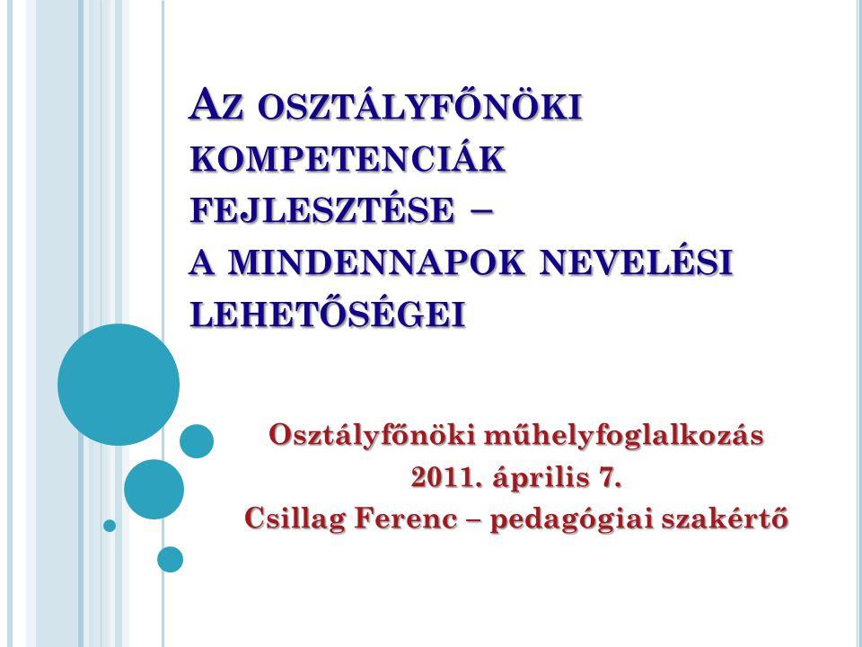A Z OSZTÁLYFŐNÖKI KOMPETENCIÁK FEJLESZTÉSE – A MINDENNAPOK NEVELÉSI LEHETŐSÉGEI Osztályfőnöki műhelyfoglalkozás 2011. április 7. Csillag Ferenc – peda