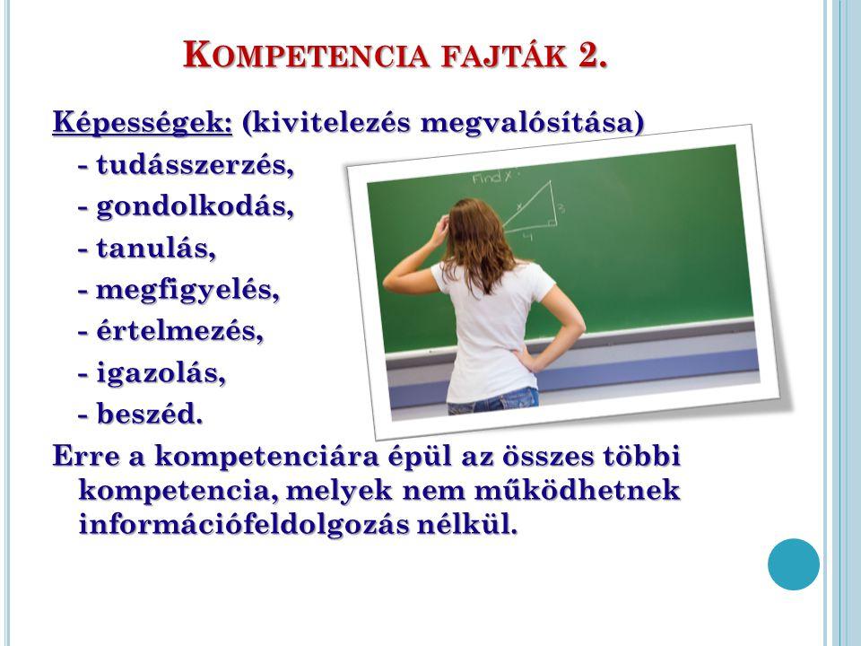 K OMPETENCIA FAJTÁK 2. Képességek: (kivitelezés megvalósítása) - tudásszerzés, - gondolkodás, - tanulás, - megfigyelés, - értelmezés, - igazolás, - be