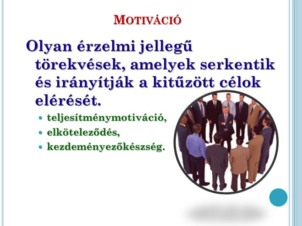 M OTIVÁCIÓ Olyan érzelmi jellegű törekvések, amelyek serkentik és irányítják a kitűzött célok elérését. teljesítménymotiváció, teljesítménymotiváció,