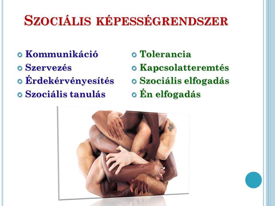 S ZOCIÁLIS KÉPESSÉGRENDSZER KommunikációSzervezésÉrdekérvényesítés Szociális tanulás ToleranciaKapcsolatteremtés Szociális elfogadás Én elfogadás