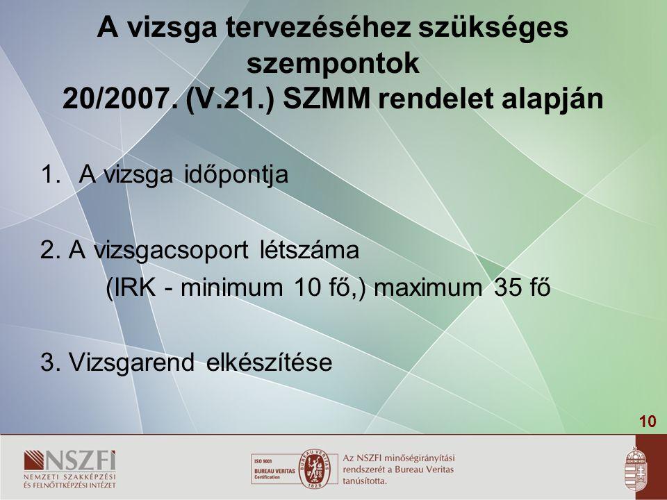 10 A vizsga tervezéséhez szükséges szempontok 20/2007.