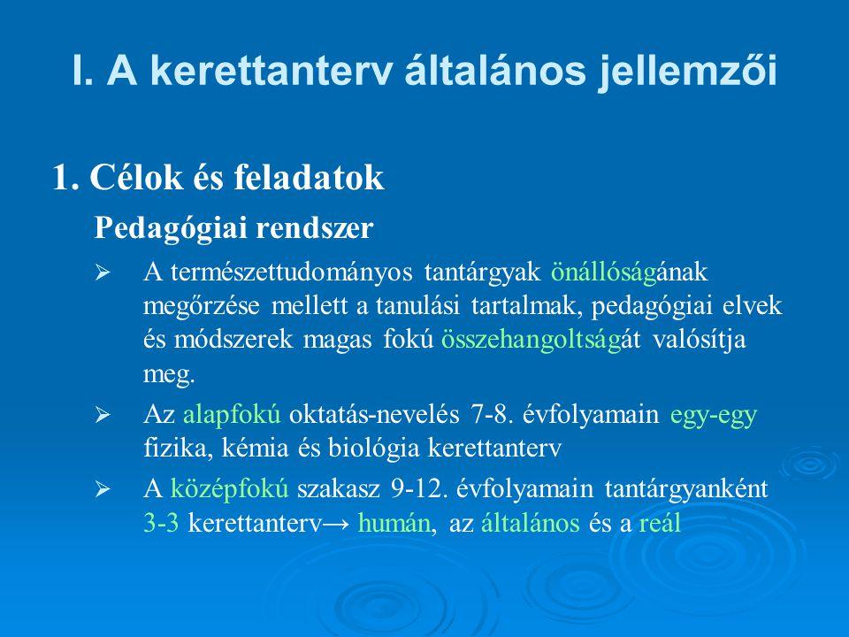 I. A kerettanterv általános jellemzői 1.