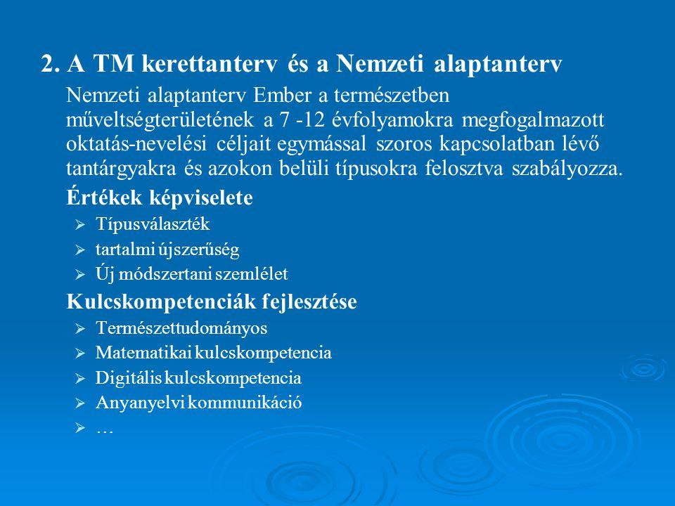 2. A TM kerettanterv és a Nemzeti alaptanterv Nemzeti alaptanterv Ember a természetben műveltségterületének a 7 -12 évfolyamokra megfogalmazott oktatá