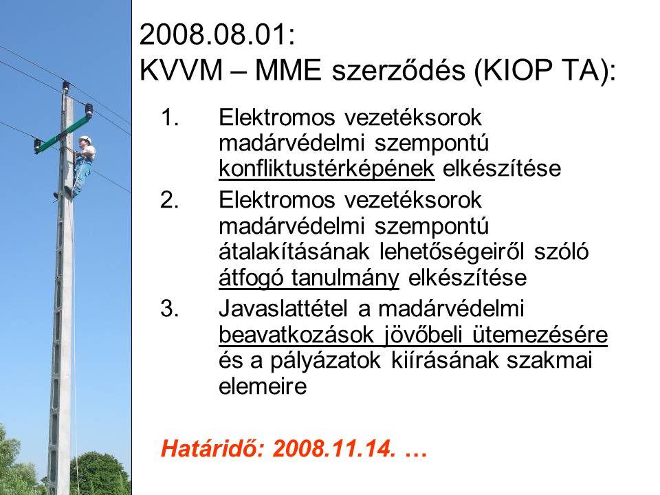 2008.08.01: KVVM – MME szerződés (KIOP TA): 1.Elektromos vezetéksorok madárvédelmi szempontú konfliktustérképének elkészítése 2.Elektromos vezetéksorok madárvédelmi szempontú átalakításának lehetőségeiről szóló átfogó tanulmány elkészítése 3.Javaslattétel a madárvédelmi beavatkozások jövőbeli ütemezésére és a pályázatok kiírásának szakmai elemeire Határidő: 2008.11.14.