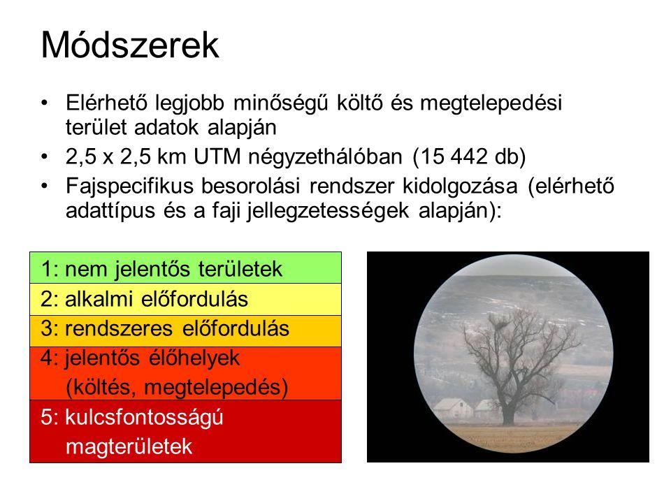 Módszerek Elérhető legjobb minőségű költő és megtelepedési terület adatok alapján 2,5 x 2,5 km UTM négyzethálóban (15 442 db) Fajspecifikus besorolási rendszer kidolgozása (elérhető adattípus és a faji jellegzetességek alapján): 1: nem jelentős területek 2: alkalmi előfordulás 3: rendszeres előfordulás 4: jelentős élőhelyek (költés, megtelepedés) 5: kulcsfontosságú magterületek