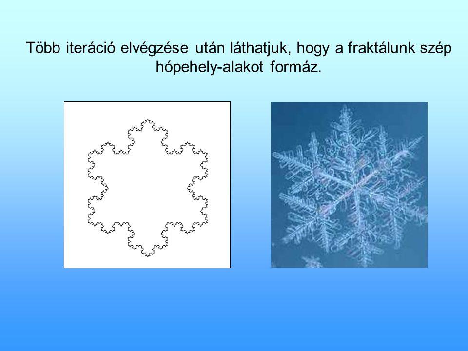 Több iteráció elvégzése után láthatjuk, hogy a fraktálunk szép hópehely-alakot formáz.