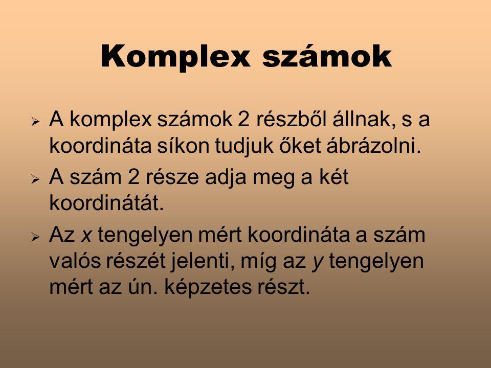 Komplex számok  A komplex számok 2 részből állnak, s a koordináta síkon tudjuk őket ábrázolni.  A szám 2 része adja meg a két koordinátát.  Az x te