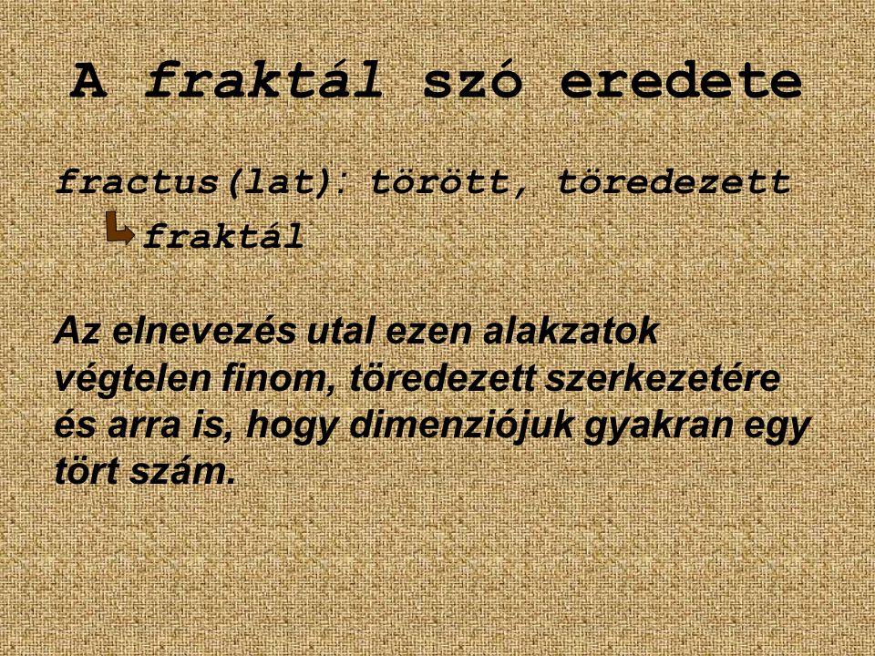 A fraktál szó eredete fractus(lat) : törött, töredezett fraktál Az elnevezés utal ezen alakzatok végtelen finom, töredezett szerkezetére és arra is, h