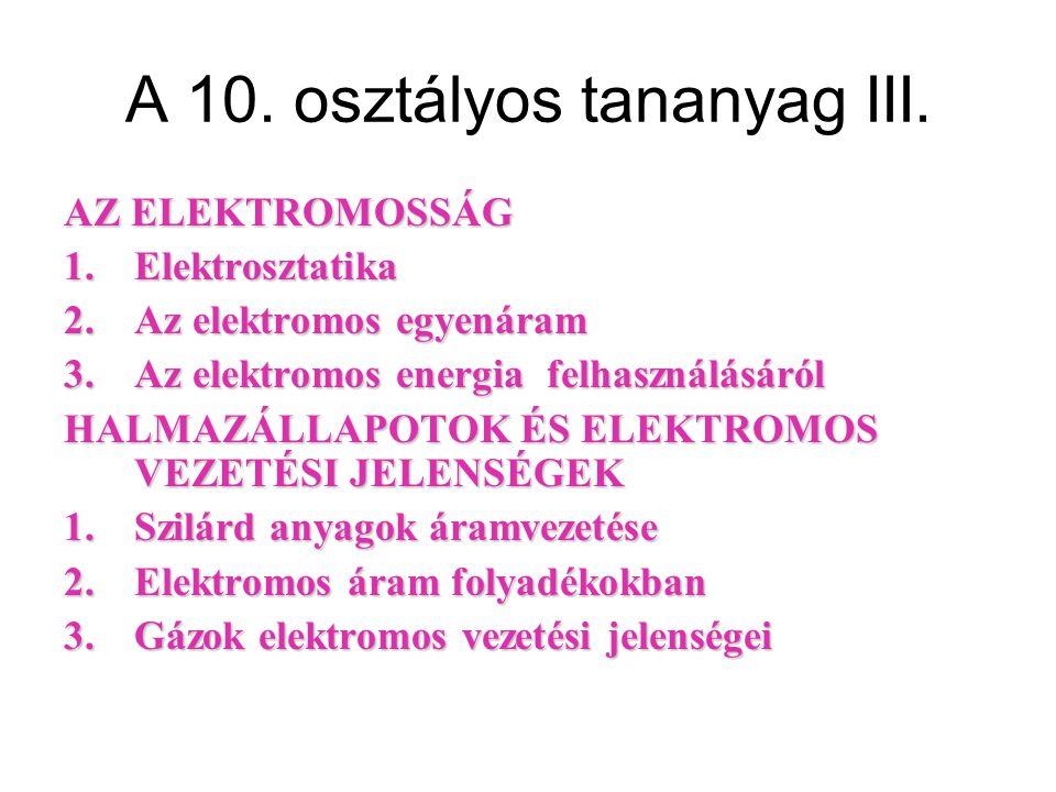 A 10. osztályos tananyag III.