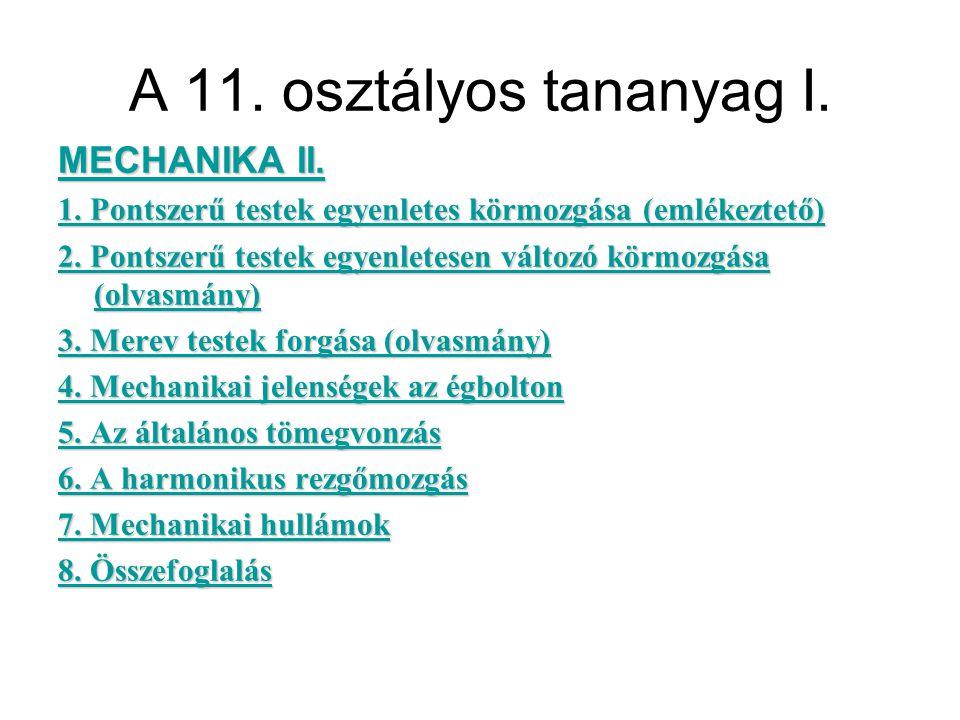 A 11. osztályos tananyag I. MECHANIKA II. MECHANIKA II.