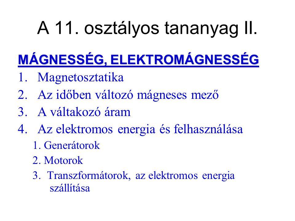 A 11. osztályos tananyag II.