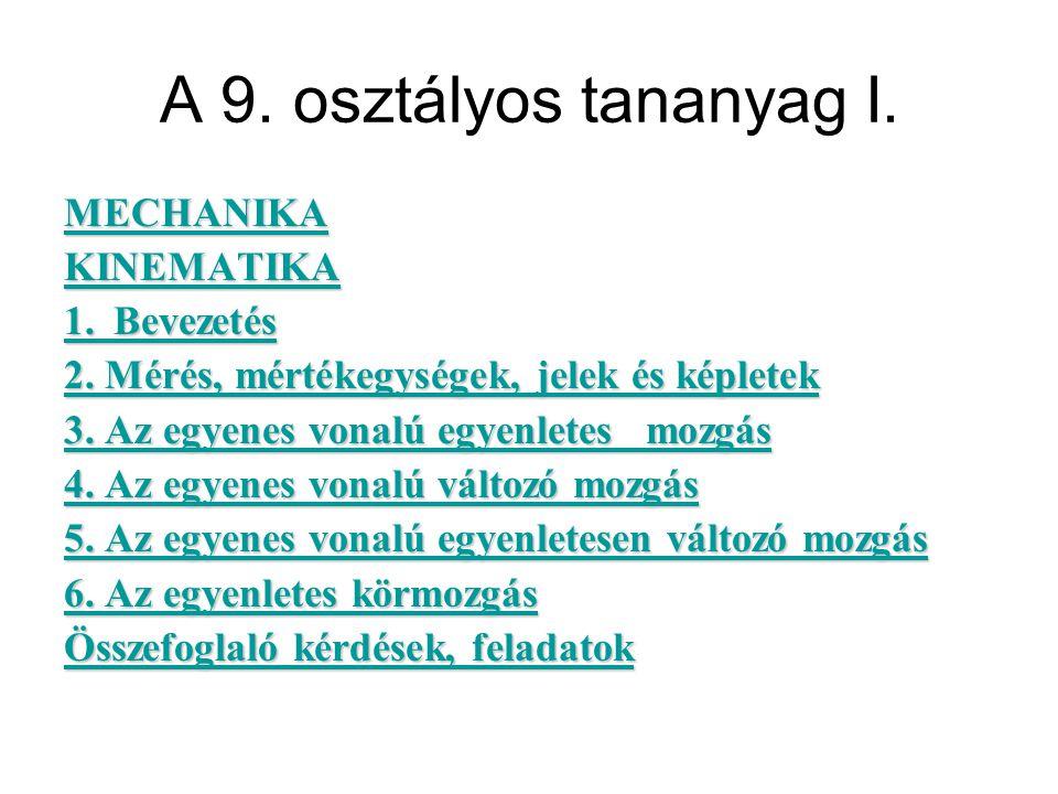 A 9. osztályos tananyag I. MECHANIKA KINEMATIKA 1.