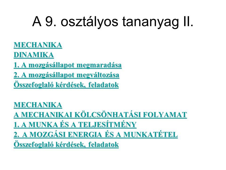 A 9. osztályos tananyag II. MECHANIKA DINAMIKA 1.