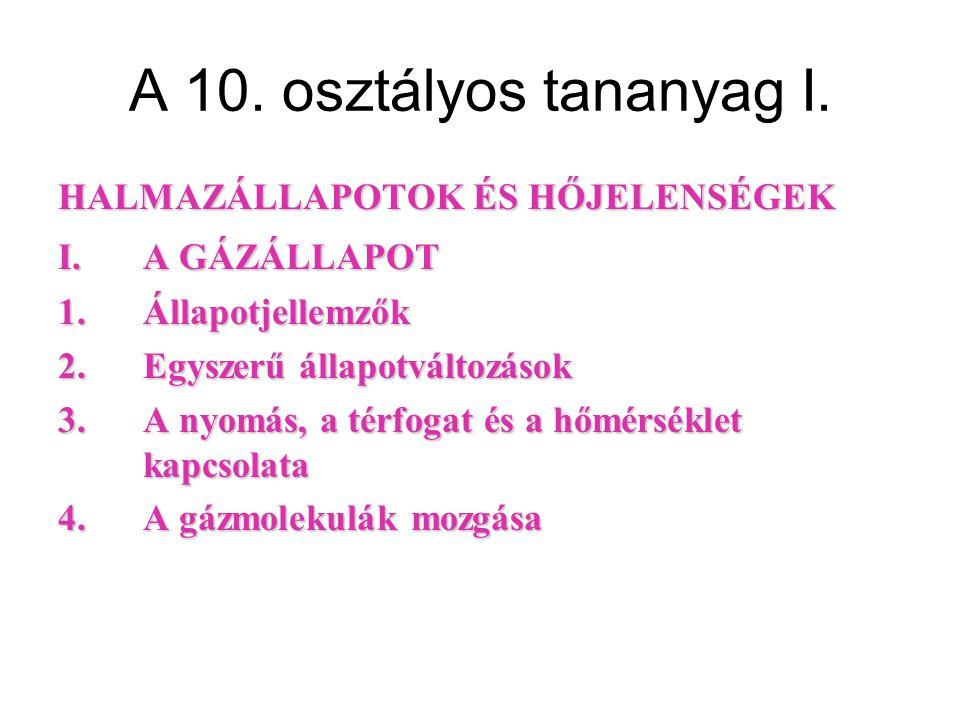 A 10.osztályos tananyag II.