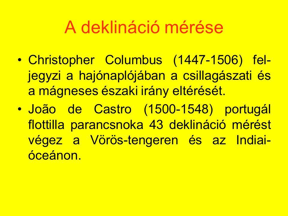 A deklináció mérése Christopher Columbus (1447-1506) fel- jegyzi a hajónaplójában a csillagászati és a mágneses északi irány eltérését.