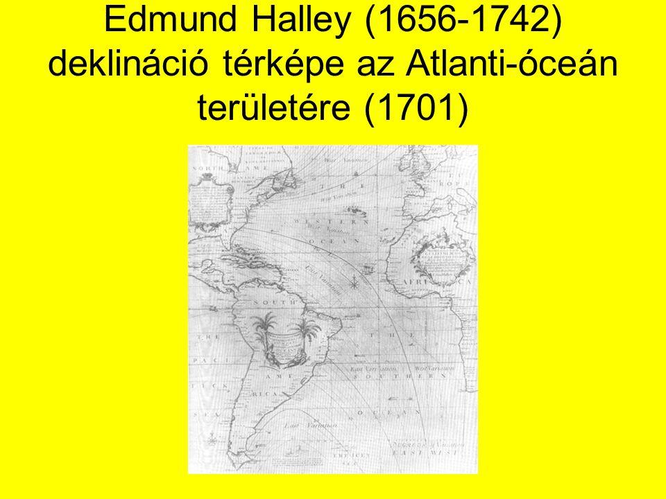 Edmund Halley (1656-1742) deklináció térképe az Atlanti-óceán területére (1701)