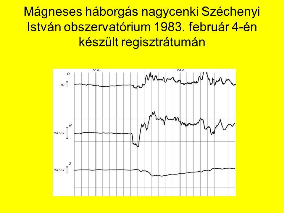 Mágneses háborgás nagycenki Széchenyi István obszervatórium 1983. február 4-én készült regisztrátumán