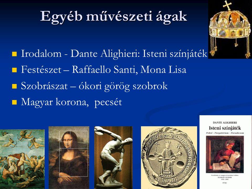 Egyéb művészeti ágak Irodalom - Dante Alighieri: Isteni színjáték Festészet – Raffaello Santi, Mona Lisa Szobrászat – ókori görög szobrok Magyar korona, pecsét