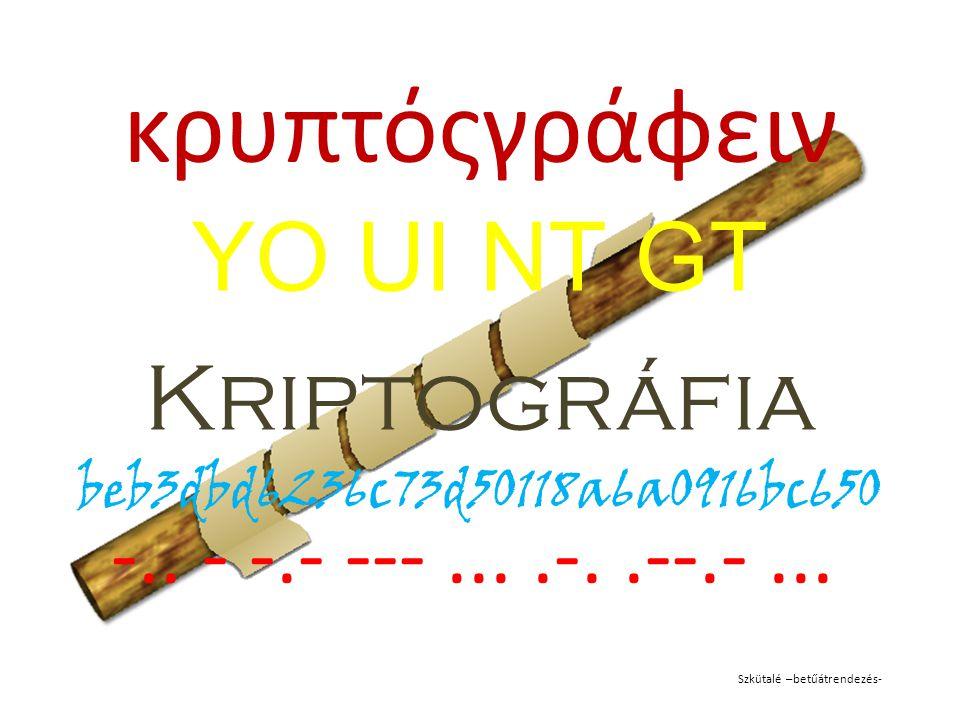 κρυπτόςγράφειν YO UI NT GT Kriptográfia beb3dbd6236c73d50118a6a0916bc650 -.. - -.- ---....-..--.-... Szkütalé –betűátrendezés-