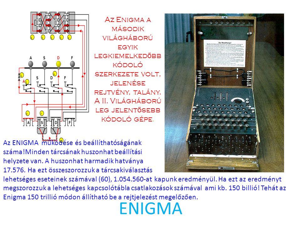 ENIGMA Az Enigma a második világháború egyik legkiemelked ő bb kódoló szerkezete volt, jelenése rejtvény, talány. A II. Világháború leg jelent ő seb