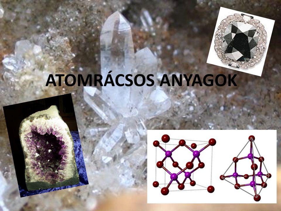 Jellemző tulajdonságok A kristályt alkotó részecskék: Atomok (atomtörzsek) Összetartó erők: kovalens kötés (elsőrendű, erős kötés) Olvadáspont: Magas C GY 3500˚CSiO 2 1703˚C Si 1414 ˚C