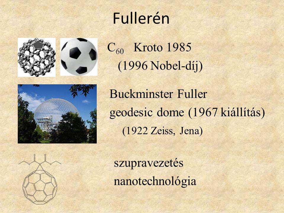 Fullerén C 60 Kroto 1985 (1996 Nobel-díj) Buckminster Fuller geodesic dome (1967 kiállítás) (1922 Zeiss, Jena) szupravezetés nanotechnológia