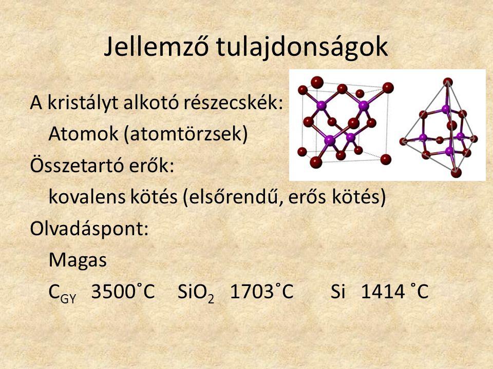 Jellemző tulajdonságok Kemény, szilárd anyagok Vízben nem oldódnak Az áramot nem vezetik Szilárdság: Oldhatóság: Áramvezetés: Példák: C GY SiO 2 SiSiC 12345678910 talkgipszkalcitfluoritapatitföldpát kvarc topázkorund gyémánt Mohs-skála