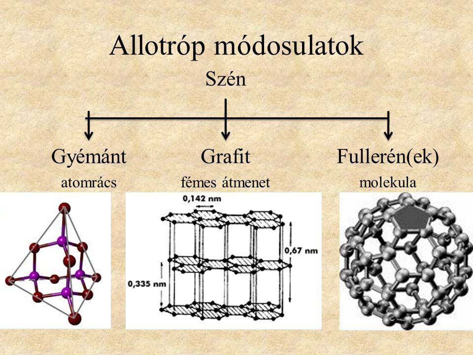 Allotróp módosulatok Grafit fémes átmenet Fullerén(ek) molekula Gyémánt atomrács Szén
