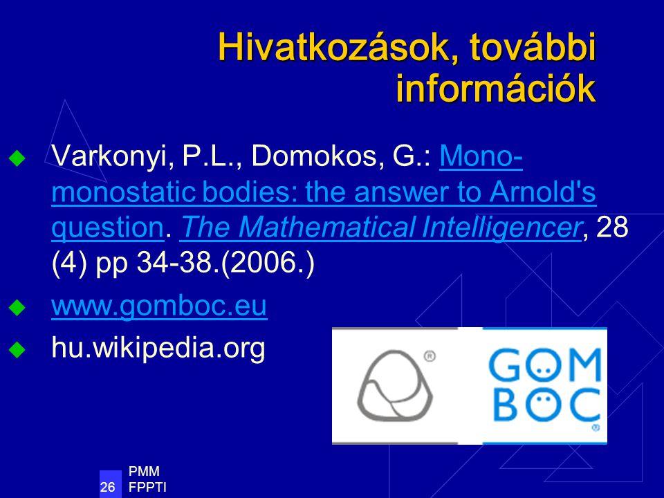 PMM FPPTI 26 Hivatkozások, további információk  Varkonyi, P.L., Domokos, G.: Mono- monostatic bodies: the answer to Arnold s question.