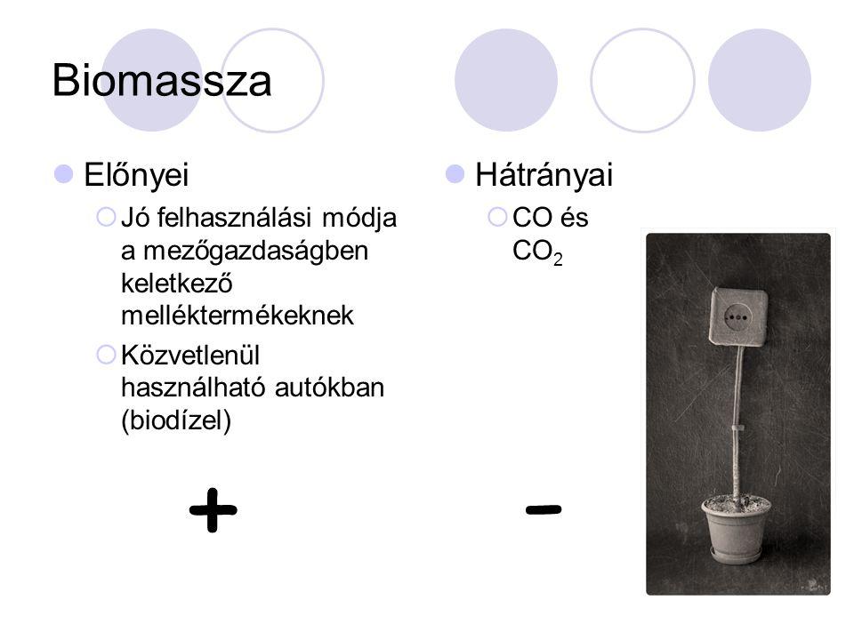 Biomassza Előnyei  Jó felhasználási módja a mezőgazdaságben keletkező melléktermékeknek  Közvetlenül használható autókban (biodízel) Hátrányai  CO és CO 2 + -