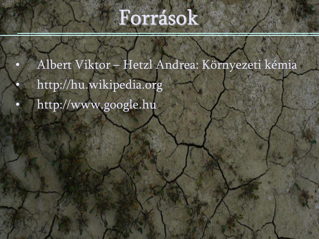 Források Albert Viktor – Hetzl Andrea: Környezeti kémia http://hu.wikipedia.org http://www.google.hu