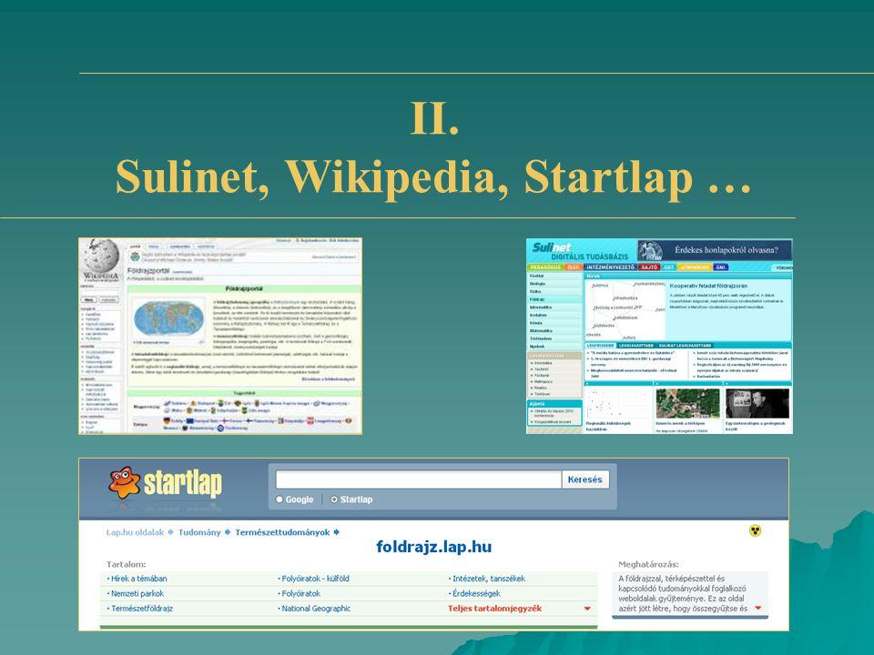 II. Sulinet, Wikipedia, Startlap …