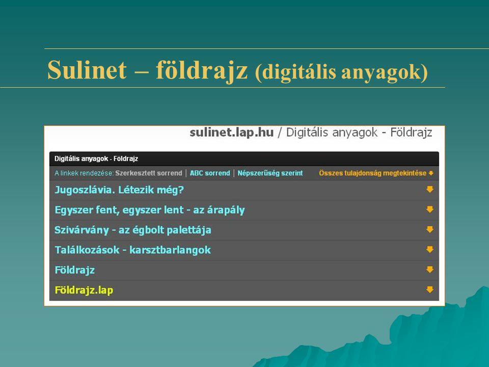 Sulinet – földrajz (digitális anyagok)