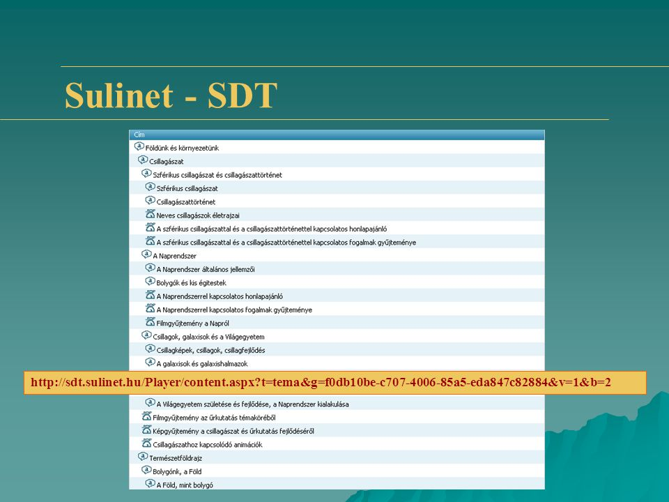 Sulinet - SDT http://sdt.sulinet.hu/Player/content.aspx?t=tema&g=f0db10be-c707-4006-85a5-eda847c82884&v=1&b=2